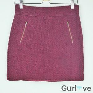 Ann Taylor LOFT Burgundy Mid Skirt Sz 2